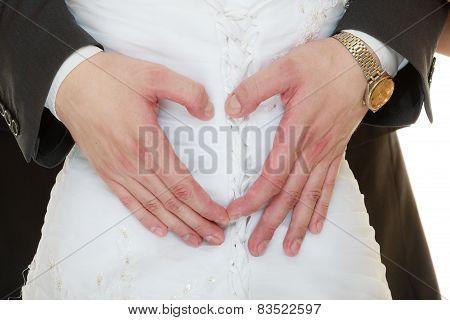 Wedding Couple. Male Hands Making Heart Shape Love