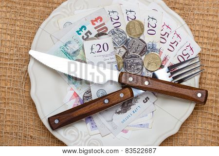 British Money On Kitchen Table, Coast Of Living