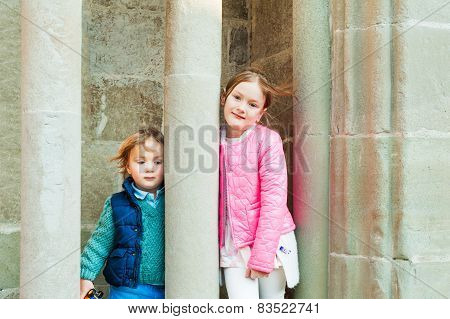 Adorable kids outdoors