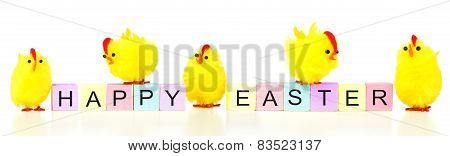 Happy Easter blocks with spring chicks