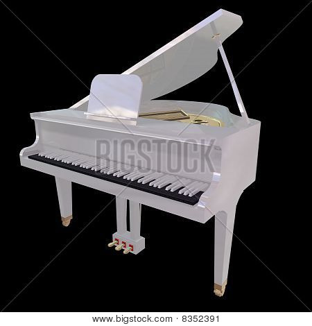Gand Piano Isolated On A Black Background