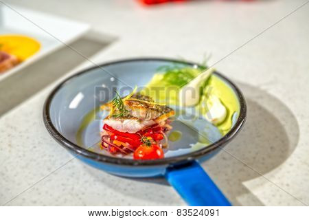 Roasted fish served