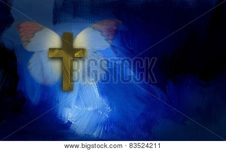 Butterfly and Christian Cross