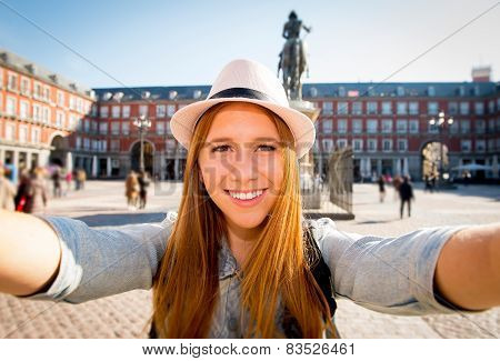 Young Beautiful Tourist Woman Visiting Europe In Holidays Exchange Students And Taking Selfie Pictur