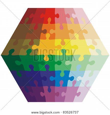 Jigsaw puzzle shape of a polygon,  colors  rainbow. Vector illus