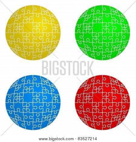 Jigsaw puzzle set form of spheres  four colors. Vector illustrat