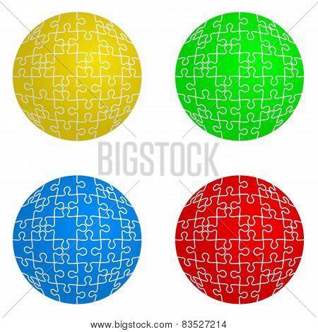 Jigsaw puzzle set form of spheres  four colors. Vector illustrat