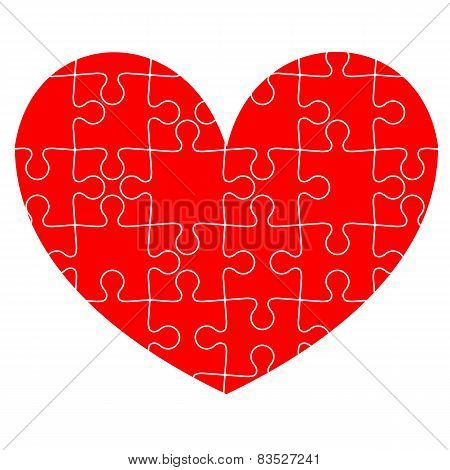 Jigsaw puzzle in the  red heart. Vector illustration.