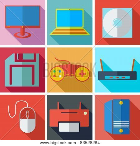 Collection modern flat icons media technology with long shadow e