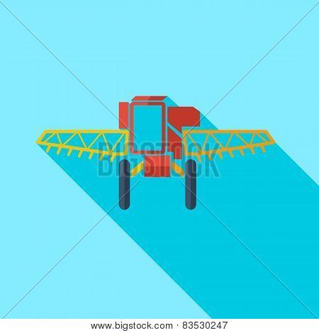 Modern flat design concept icon combine harvester. Vector illust