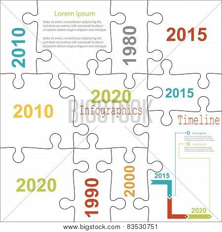Infographic report templates in puzzle jigsaw elements . Vector