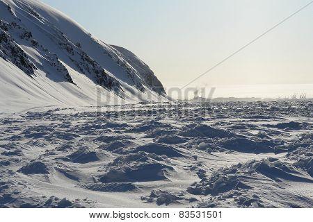 Chukotka. Frozen Shore Of The Arctic Ocean.