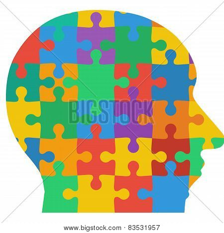 Jigsaw puzzle human head, colored background. Vector illustratio