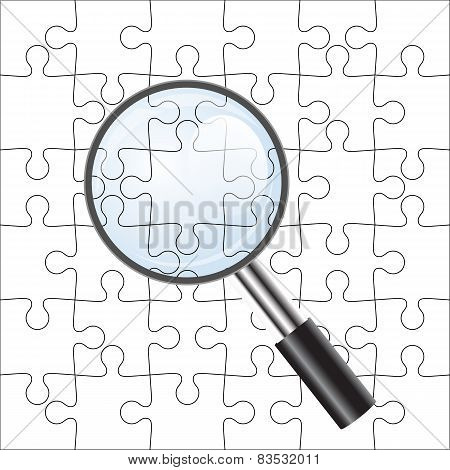 Background Vector Illustration jigsaw puzzle. with a magnifying