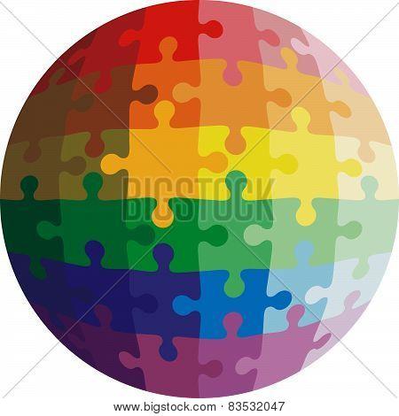 Jigsaw puzzle shape of a ball,  colors  rainbow. Vector illustra