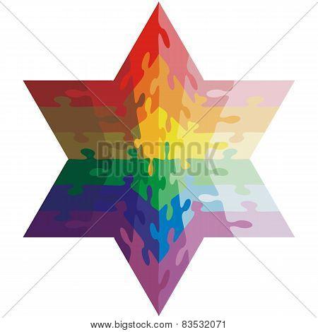 Jigsaw puzzle shape of a  hexagon,  colors  rainbow. Vector illu