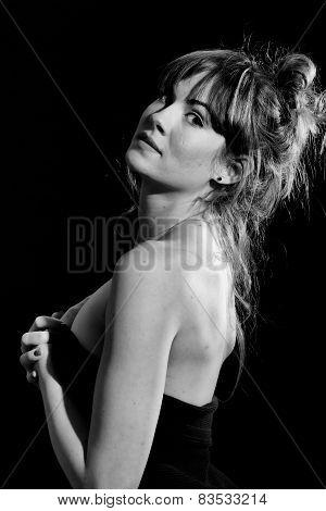 Tall Pretty Woman Model in Black & White Black Background