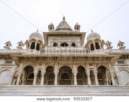 Jaswant Thada. Ornately Carved White Marble Tomb Of The Former Rulers Of Jodhpur