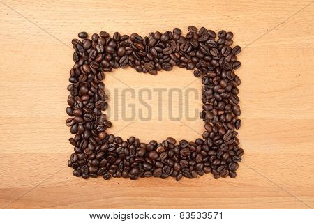 Roasted Coffee Beans In Rectangular Shape