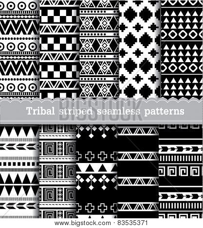 Tribal striped seamless patterns.vector