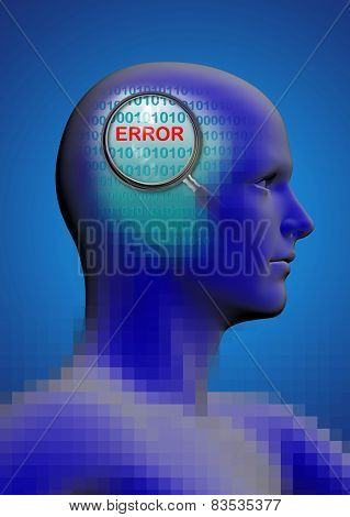 Profile Of A Man With Close Up Of Magnifying Glass On Error
