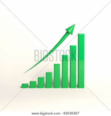 Green growing graph with a red arrow 3d graphics...