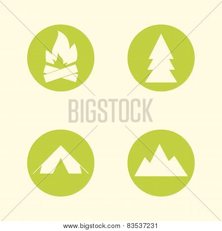 Tourist sign icon set. Camping symbols. Travel design. Circle flat buttons. Modern UI website naviga