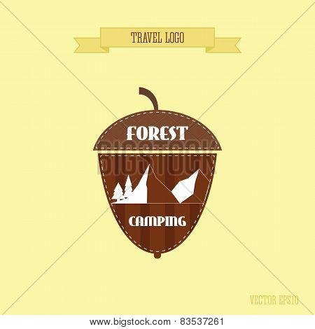Camping wilderness adventure badge graphic design logo emblem. Forest camp. Acorn style.