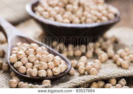 Chick Peas On A Wooden Spoon