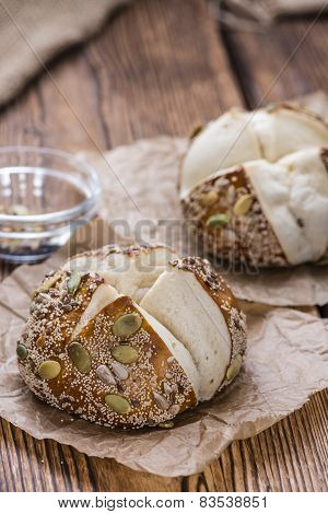 Pretzel Rolls With Mixed Seeds