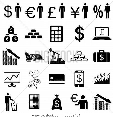 Collection flat icons.  Finance symbols. Vector illustration.
