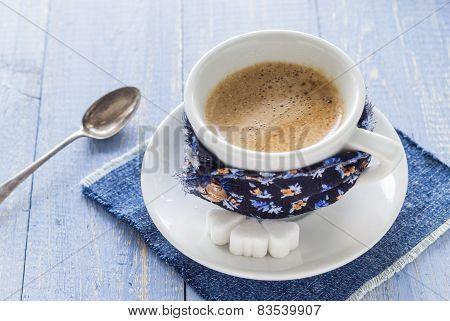 Coffee Cup Black Wooden Board Brown White Milk
