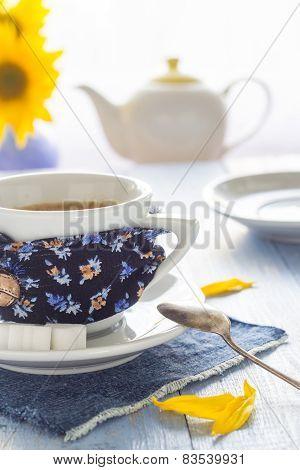 Coffee Cup Black Wooden Board Brown White Jug Milk Sunflower