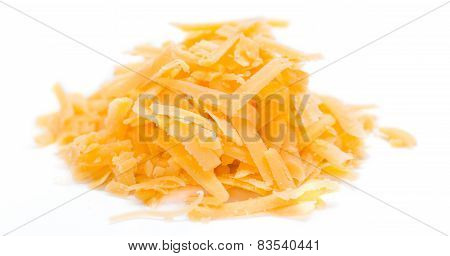 Grated Cheddar Isolated On White