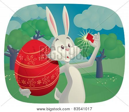Rabbit Takes Selfie With Easter Egg Vector Cartoon