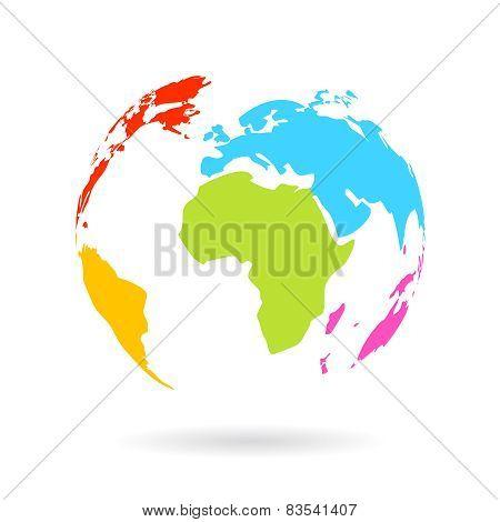 Color earth globe icon
