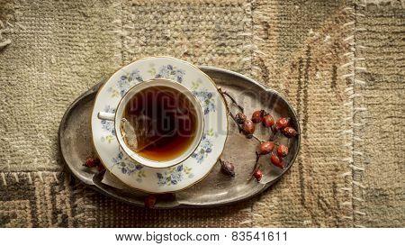 Top View Of Cup Of English Tea, Closeup Shot