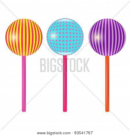 Set Of Colorful Round Lollipops Vector