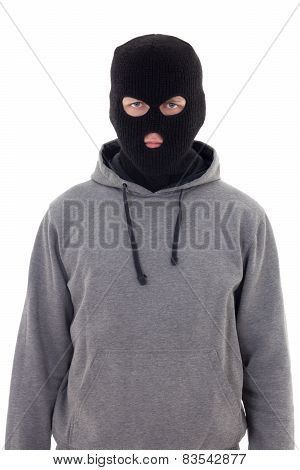 Criminal Man In Mask Isolated On White