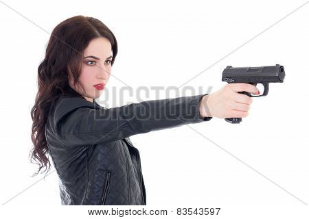 Young Beautiful Woman Shooting With Gun Isolated On White