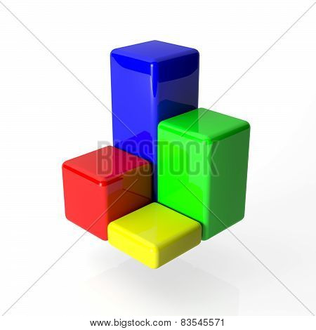 multi-colored cubes of the 3D schedule