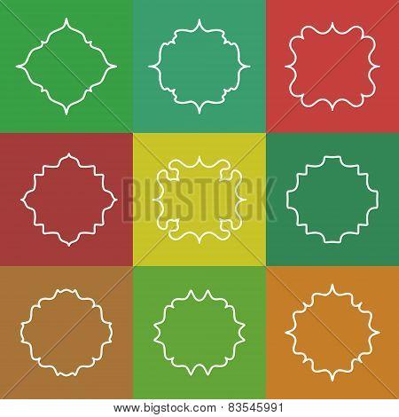 Set of Elegant Vector White Line Frames on Colorful Background