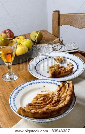 Apple Pie On A Table With Apples