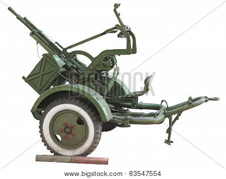 Russian Old Green Anti-aircraft Gun Isolated Over White