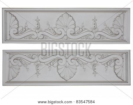 Old Classic Architecture White Floral Decorative Panel Isolated Over White