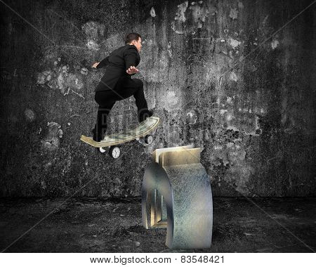 Businessman Skating On Money Skateboard Across Metal Euro Symbol