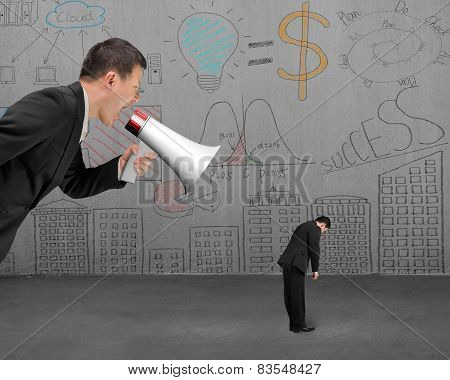 Businessman Using Megaphone Yelling At His Employee With Doodles Wall