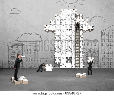 Businessman Commanding Workers To Build Arrow Jigsaw Puzzle With Doodles