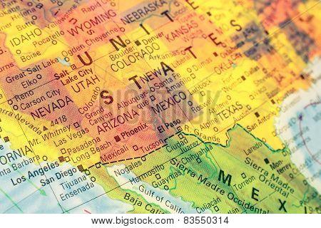 Map South West Usa. Close-up Image
