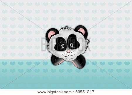 Panda With Light Blue Hearts Background